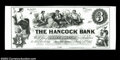 "Ellsworth, ME-The Hancock Bank $3 G6 Wait-15. A ""Modern Proof"" on thick card. A very popular coin vignette by..."