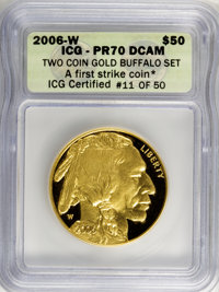 2006-W $50 Buffalo Gold A First Strike Coin ★ PR70 Deep Cameo ICG. ICG Certified #11 of 50. (#9990)...(PCGS# 9990)