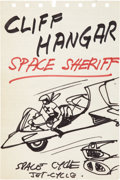 animation art:Production Cel, Sheldon Moldoff Cliff Hangar Space Sheriff Animation ConceptSketch Original Art (undated)....