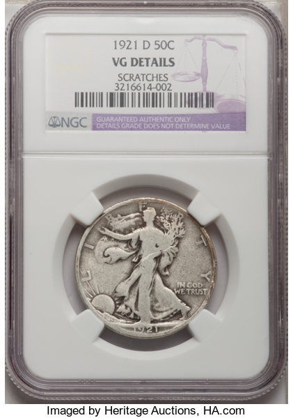 2daf591803 1921-D 50C --Scratches--NGC. VG Details. NGC Census  (73 359).