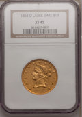 Liberty Eagles: , 1854-O $10 Large Date XF45 NGC. NGC Census: (23/129). PCGSPopulation (10/60). (#98614)...