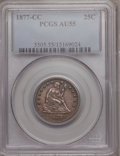 Seated Quarters: , 1877-CC 25C AU55 PCGS. PCGS Population (19/371). NGC Census:(14/318). Mintage: 4,192,000. Numismedia Wsl. Price for proble...