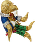 Estate Jewelry:Brooches - Pins, Diamond, Ruby, Polychrome Enamel, Gold Brooch. ...