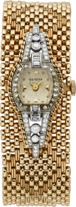 Timepieces:Wristwatch, Swiss Lady's Diamond, Platinum Watch with Gold Bracelet. ...