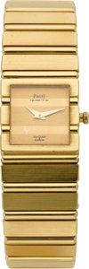 Timepieces:Wristwatch, Piaget Lady's Gold Polo Wristwatch, made for Van Cleef & Arpels. ...