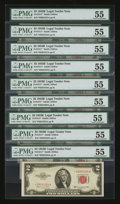 Small Size:Legal Tender Notes, Fr. 1511* $2 1953B Legal Tender Star Notes. Nine Examples. PMG About Uncirculated 55.. ... (Total: 9 notes)