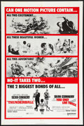 "Movie Posters:James Bond, Thunderball/You Only Live Twice Combo (United Artists, R-1970). OneSheet (27"" X 41""). James Bond.. ..."