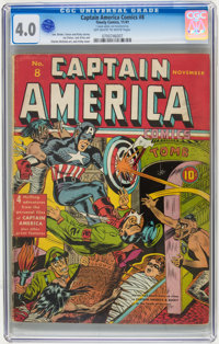 Captain America Comics #8 (Timely, 1941) CGC VG 4.0 Off-white to white pages