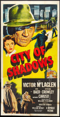 "Movie Posters:Crime, City of Shadows (Republic, 1955). Three Sheet (41"" X 81""). Crime....."