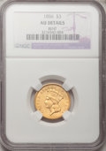 Three Dollar Gold Pieces, 1856 $3 --Bent--NGC. AU Details. NGC Census: (29/545). PCGS Population (62/328). Mintage: 26,010. Numismedia Wsl. Price for ...