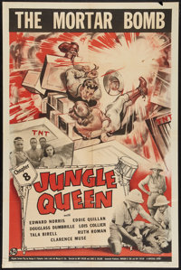 """Jungle Queen (Universal, 1944). One Sheet (27"""" X 41"""") Chapter 8 -- """"The Mortar Bomb."""" Serial"""