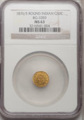 California Fractional Gold: , 1876/5 50C Indian Round 50 Cents, BG-1059, R.4, MS63 NGC. NGCCensus: (4/5). PCGS Population (18/10). (#10888)...