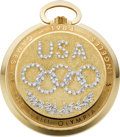 Timepieces:Pocket (post 1900), Longines Gold & Diamond Limited Edition Olympic Pocket Watch, No. 411/1000, circa 1984. ...