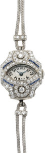 Timepieces:Wristwatch, Waltham Lady's Platinum, Diamond & Sapphire Deco Wristwatch, circa 1915. ...