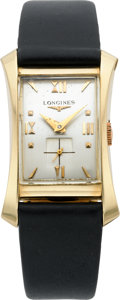 Timepieces:Wristwatch, Longines Gold Flared Lug Wristwatch, circa 1950. ...
