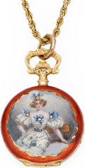 Timepieces:Pocket (pre 1900) , Swiss Gold & Enamel Miniature Hunters Case With Chain, circa 1890. ... (Total: 2 Items)