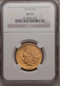 Indian Eagles: , 1910-D $10 AU55 NGC. NGC Census: (83/8810). PCGS Population(271/6878). Mintage: 2,356,640. Numismedia Wsl. Price for probl...
