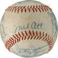 Baseball Collectibles:Balls, 1952 Oakland Oaks Team Signed Baseball, with Mel Ott....