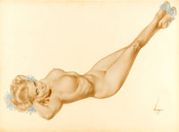 ALBERTO VARGAS (American, 1896-1982) Legacy Nude, First Playboy Pin-Up, March 1957 Watercolor on boa