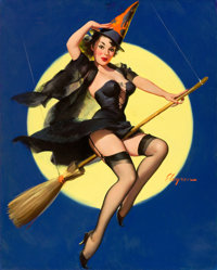 GIL ELVGREN (American, 1914-1980) Riding High, 1958 Oil on canvas 30 x 24 in. Signed lower rig