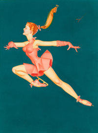 GEORGE PETTY (American, 1894-1975) Petty Ice Capades illustration, 1965 Watercolor on paper 23 x