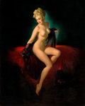 Pin-up and Glamour Art, GIL ELVGREN (American, 1914-1980). Vision of Beauty(Unveiling), 1947. Oil on canvas. 36 x 28 in.. Signed lowerright. ...