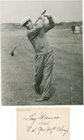 Golf Collectibles:Autographs, 1936 Tony Manero Signed Index Card & Unsigned Photograph....