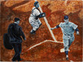 Baseball Collectibles:Others, Mickey Mantle And Roy Campanella Original Painting....