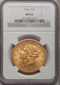 Liberty Double Eagles: , 1904 $20 MS63 NGC. NGC Census: (64181/36284). PCGS Population(49222/31741). Mintage: 6,256,797. Numismedia Wsl. Price for ...
