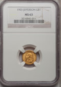Commemorative Gold: , 1903 G$1 Louisiana Purchase/Jefferson MS63 NGC. NGC Census:(252/1407). PCGS Population (551/2204). Mintage: 17,500. Numism...