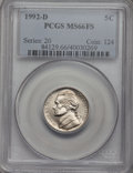 Jefferson Nickels, 1992-D 5C MS66FS PCGS. NGC Census: (5/0). Numismedia Wsl. Price forproblem free NGC/PCGS coin in M...