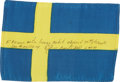 Transportation:Space Exploration, Apollo 14 Flown Flag of Sweden Directly from the Personal Collection of Mission Lunar Module Pilot Edgar Mitchell, Signed and ...