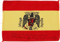 Transportation:Space Exploration, Apollo 14 Flown Flag of Spain Directly from the Personal Collectionof Mission Lunar Module Pilot Edgar Mitchell, Signed and C...