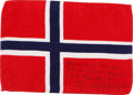 Transportation:Space Exploration, Apollo 14 Flown Flag of Norway Directly from the PersonalCollection of Mission Lunar Module Pilot Edgar Mitchell, Signed and...