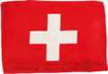 Transportation:Space Exploration, Apollo 14 Flown Flag of Switzerland Directly from the PersonalCollection of Mission Lunar Module Pilot Edgar Mitchell, Signed...
