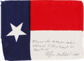 Transportation:Space Exploration, Apollo 14 Flown Texas State Flag Directly from the PersonalCollection of Mission Lunar Module Pilot Edgar Mitchell, Signedan...