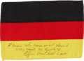 Transportation:Space Exploration, Apollo 14 Flown Flag of Germany Directly from the Personal Collection of Mission Lunar Module Pilot Edgar Mitchell, Signed and...