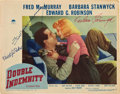 "Movie Posters:Film Noir, Double Indemnity (Paramount, 1944). Autographed Lobby Card (11"" X14"").. ..."