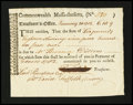 Colonial Notes:Massachusetts, Massachusetts Treasury Tax Collector's Certificate. January 1783.Very Fine-Extremely Fine....