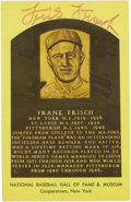 Autographs:Post Cards, Frank Frisch Signed Gold Hall of Fame Plaque. Tremendous switch-hitting slugger Frank Frisch offers his Hall of Fame signat...