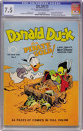 Golden Age (1938-1955):Cartoon Character, Four Color #9 Donald Duck Finds Pirate Gold (Dell, 1942) CGC VF-7.5 Off-white to white pages....