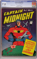Golden Age (1938-1955):Superhero, Captain Midnight #2 (Fawcett, 1942) CGC FN/VF 7.0 Cream to off-white pages....