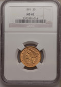 Liberty Half Eagles: , 1891 $5 MS62 NGC. NGC Census: (76/54). PCGS Population (53/48).Mintage: 61,300. Numismedia Wsl. Price for problem free NGC...