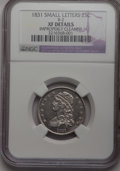 Bust Quarters, 1831 25C Small Letters--Improperly Cleaned--NGC. XF Details. B-2. NGC Census: (16/387). PCGS Population (20/346). Mintage: ...