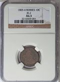 Early Dimes: , 1805 10C 4 Berries AG3 NGC. JR-2. NGC Census: (10/232). PCGSPopulation (14/320). Mintage: 120,780. Numismedia Wsl. Price f...