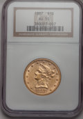 Liberty Eagles: , 1887 $10 AU55 NGC. NGC Census: (34/198). PCGS Population (38/85).Mintage: 53,680. Numismedia Wsl. Price for problem free N...