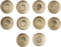 Football Cards:Sets, 1965 Coke-Cola New York Giants and Jets Bottle Caps Near Sets (5). ...