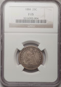 Seated Quarters: , 1884 25C Fine 15 NGC. NGC Census: (2/75). PCGS Population (3/99).Mintage: 8,000. Numismedia Wsl. Price for problem free NG...