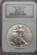 Modern Bullion Coins: , 1998 $1 Silver Eagle MS70 NGC. NGC Census: (244). PCGS Population(3). Numismedia Wsl. Price for problem free NGC/PCGS coi...