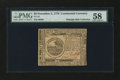 Colonial Notes:Continental Congress Issues, Continental Currency November 2, 1776 $6 PMG Choice About Unc 58....